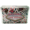 """New Playing Cards in a Clear Box for Storage. This deck features our """"Cards"""" design which shows Vegas the Las Vegas Sign Icon over random playing cards laid out."""
