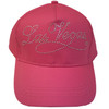 CHILD SIZED Hot Pink Baseball style cap with Las Vegas in fancy font Rhinestones.