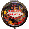 Bright Colorful Las Vegas Welcome Sign on our Color Line Background Round Las Vegas Compact Mirror.