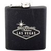 Metal Flask with Black Rubber Coating. Printed Welcome To Las Vegas Sign design on the front.