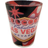 Glass Las Vegas shotglass with a full wrap design showing an enlarged dice and the famous Las Vegas Welcome Sign.