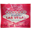 Pink background tote bag has a huge White, Gray, and Red colorful Welcome to Las Vegas Sign as the dominant focus on this item.