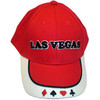 Red Baseball style cap with Las Vegas in Black embroidery centered on the front. The bill has embroidered red and black card suites on it.