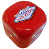 Bright Red Dice Shaped Tin box to hold mints. Sides have dice pips and top has Las Vegas Sign logo.