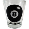 Glass Las Vegas shotglass with a design on the front which has a Black Eight Ball and Las Vegas on it.