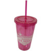 Pink Plastic Tumbler with Straw, screw top lid, and White Welcome to Las Vegas Sign design on it.