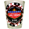 Glass Las Vegas shotglass with a design on the front of a Large Lucky Las Vegas Poker Chip.