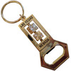 Gold Color Metal Las Vegas Bottle Opener Keychain with two mini spinning dice.