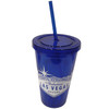 Blue Plastic Tumbler with Straw, screw top lid, and White Welcome to Las Vegas Sign design on it.