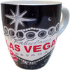 Oversized Las Vegas Souvenir Ceramic mug with a Black and Gray design and the Las Vegas in red inside a gray Welcome to Vegas Sign.