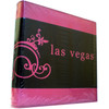 Hot Pink and Black executive look embossed large Photo Album has las vegas on the front and decorative scrolls on it