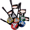 Colorfully wrapped chocolate poker chips to depict different denominations as represented by the different colors, each set in their own black mesh bag with a Vegas Logo wrapper.