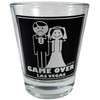 Glass Las Vegas shotglass with a design on the front which has a smiling bride and a frowning groom. Says Game Over Las Vegas.