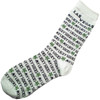White Background socks with Las Vegas Lucky Socks in Black and Green 4 leaf clovers.