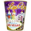 Glass Las Vegas shotglass with a full body Purple Sky wrap background.