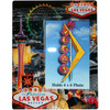 Colorful Glass Photo Frame with a magnificent view of Las Vegas iconic casino in full color background.