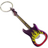 Sleek and Colorful Electric Guitar Shape Las Vegas Bottle Opener Keychain in Yellow and Purple.