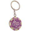Metal Keychain designed to resemble a Las Vegas Purple $100 Poker Chip.