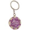 Metal Keychain designed to resemble a Las Vegas Purple $100 Poker Chip.