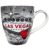 Oversized Las Vegas ceramic coffee mug with a prominent Las Vegas Sign design and a gray and black background.