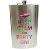 JUMBO sized metal Las Vegas flask. Las Vegas Keep Calm and Party On is in metallic rainbow colors on the front.
