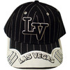 "Black Baseball style cap with ""LV"" in Black embroidery outlined in White. There are stripes all over it and embroidered Las Vegas on the bill of the cap."