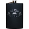 Metal Flask with Black Background and a Elegant Silver Las Vegas 1905 design.