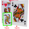 King of hearts and Queen of Clubs shown on the box of these Gigantic playing cards in in comparison next to a deck of regular playing cards.