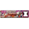 Pink background, elongated, heavy metal, bottle opener Magnet that has Las Vegas Icons and casino scene on it.