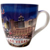 Oversized Las Vegas ceramic coffee mug with a prominent Las Vegas Sign design and a hotel collage on the Blue background.