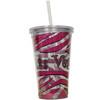 Las Vegas Tumbler with Straw- Pink Zebra- 16oz.
