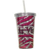 Clear Plastic Tumbler with Straw, screw top lid, and Pink and Black Zebra Stripes design on it.