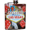 Metal Flask with colorful Vegas Welcome Sign on it in the middle and Dice and Cards bursting forth in appearance.