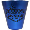 This Blue Stainless Steel Las Vegas Shotglass has a Black Printed Welcome to Las Vegas Sign design on the front.