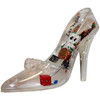 Clear Princess Shoe with snow globe liquid with cute Vegas Iconic items like colorful metallic confetti, mini dice, mini poker chips, etc floating on the inside of the shoe.