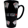 Oversized Las Vegas ceramic coffee mug with Las Vegas Sign in the middle of poker hand design on a black background.