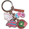 Las Vegas Keychain with dangling metal charms of roulette wheel, poker chips, hand of poker cards, and of course Las Vegas.