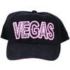 Black Baseball style cap with Vegas in Black and outlined in Pink with Rhinestones.