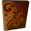 Brown executive look embossed large Photo Album has Las Vegas on the front and decorative Swirls and Pearls on the front.