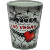 Glass Las Vegas shotglass with a full body Black, Gray, and Red wrap background, Las Vegas Sign, Heart, and Stars.
