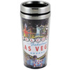 Stainless Steel Sleek Travel Mug which has a Hotel Collage Design all over it. Showcases Vegas Casinos on a Black Background.