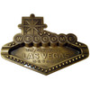 Metal gold colored Las Vegas Welcome Sign Shaped Ashtray with raised edges and attention to detail.
