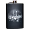 Metal Flask with Black and Gray  Hue Background where the Las Vegas Skyline shows off Iconic Casinos.