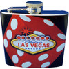 Metal Flask with Black background and a Bold Dice Design and has a colorful Vegas Welcome Sign on it in the middle.