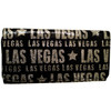 Black plastic wallet with Las Vegas in different size fonts in a silver glitter printed all over it.