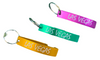 Yellow, Green, Purple color choices for the aluminum bottle opener Las Vegas Keychain.