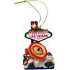Acrylic Multi Colored Las Vegas Ornament with a Roulette Wheel and Las Vegas Welcome Sign along with Dice on the design.