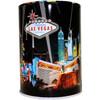 Tin bank in cylinder shape with colorful Black Spotlights Las Vegas Design.