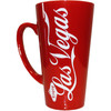 Oversized Las Vegas ceramic coffee mug with a prominent Las Vegas on a solid red background.