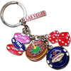 Las Vegas Keychain with dangling metal charms of dice, poker chip stack, big poker chip, a roulette wheel... and of course Las Vegas.